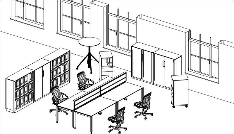 3D pogled na pisarno brez barv