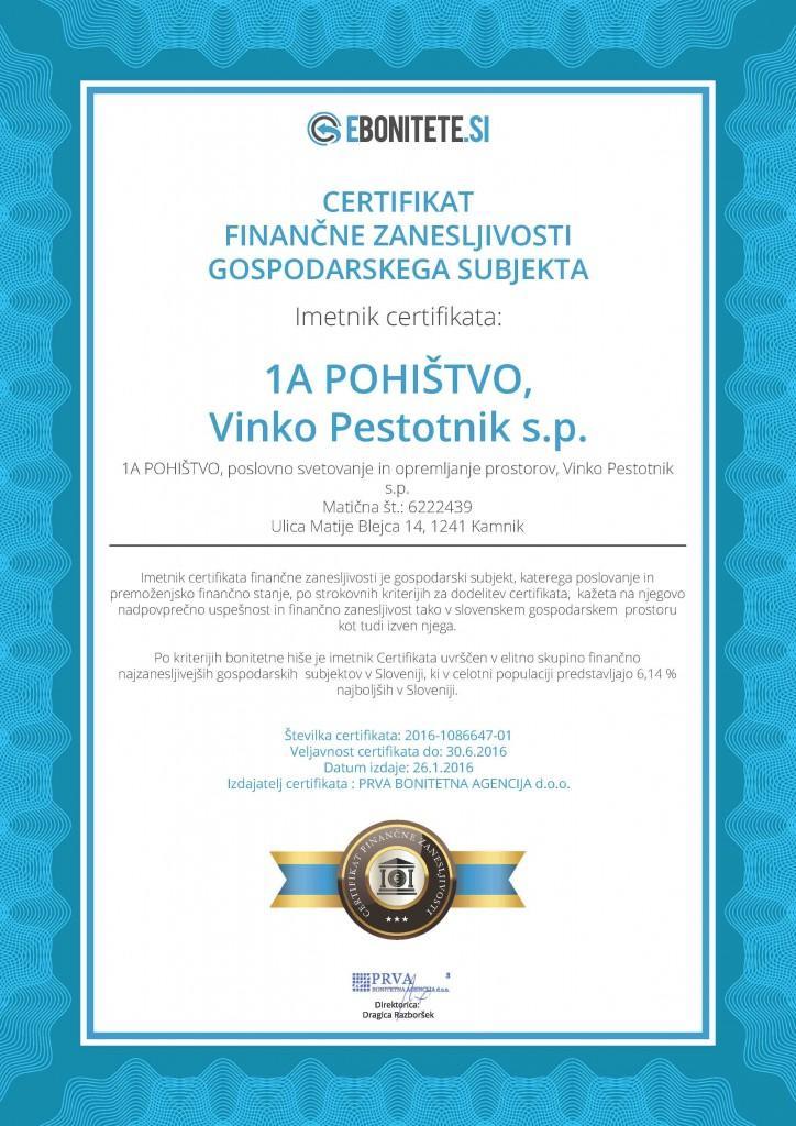 1A POHIŠTVO, Vinko Pestotnik s.p.-6222439-Certif